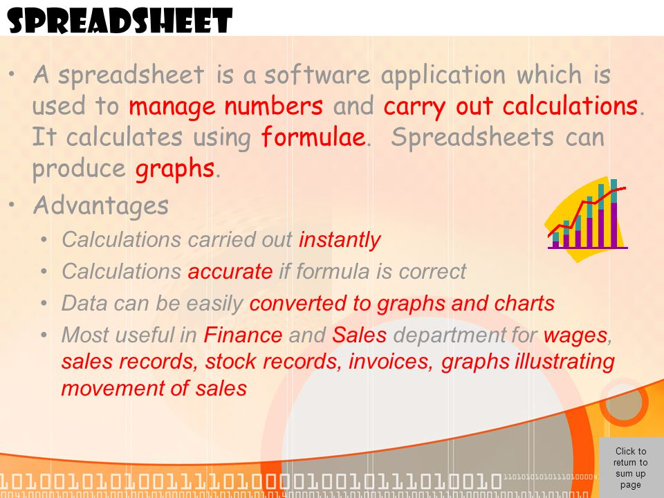 Click to return to sum up page SPREADSHEET A spreadsheet is a software application which is used to manage numbers and carry out calculations. It calc