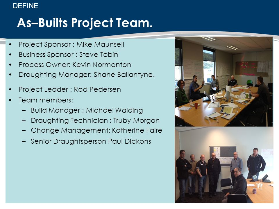 As–Builts Project Team. Project Sponsor : Mike Maunsell Business Sponsor : Steve Tobin Process Owner: Kevin Normanton Draughting Manager: Shane Ballan