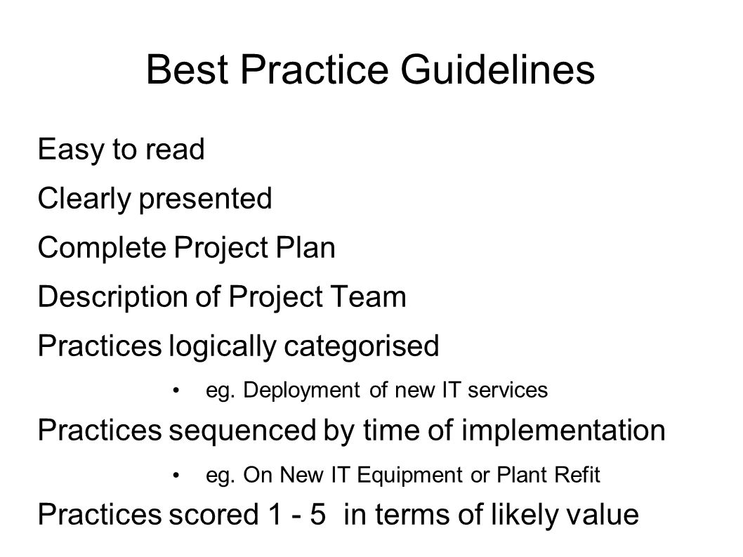 Best Practice Guidelines Easy to read Clearly presented Complete Project Plan Description of Project Team Practices logically categorised eg.