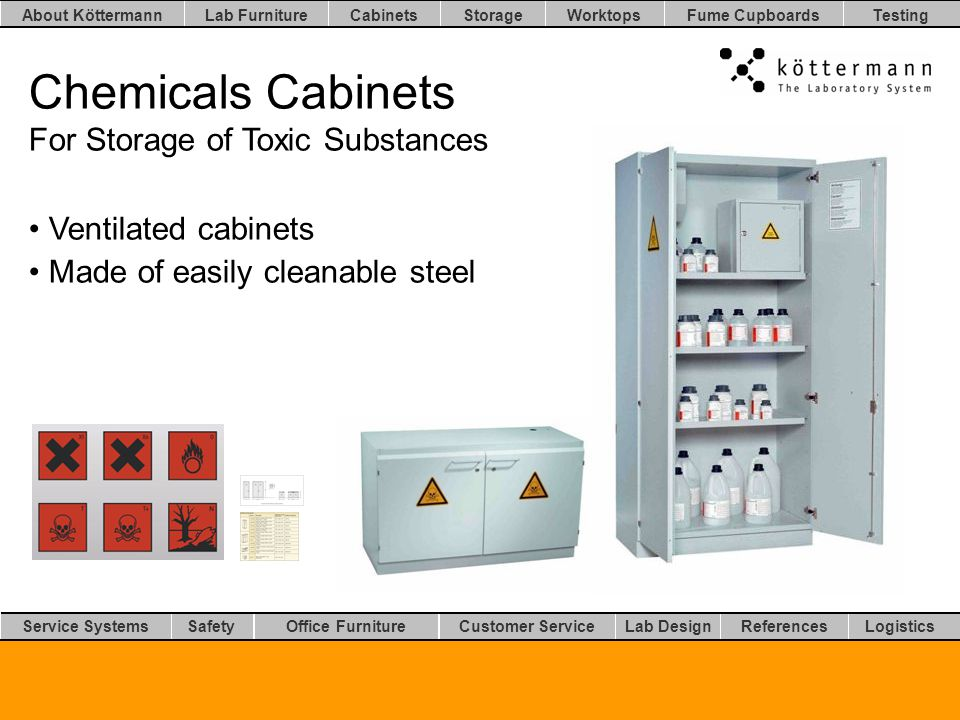Worktops LogisticsLab DesignCustomer ServiceOffice FurnitureSafetyService Systems TestingFume CupboardsStorageCabinetsLab FurnitureAbout Köttermann References Chemicals Cabinets For Storage of Toxic Substances Ventilated cabinets Made of easily cleanable steel