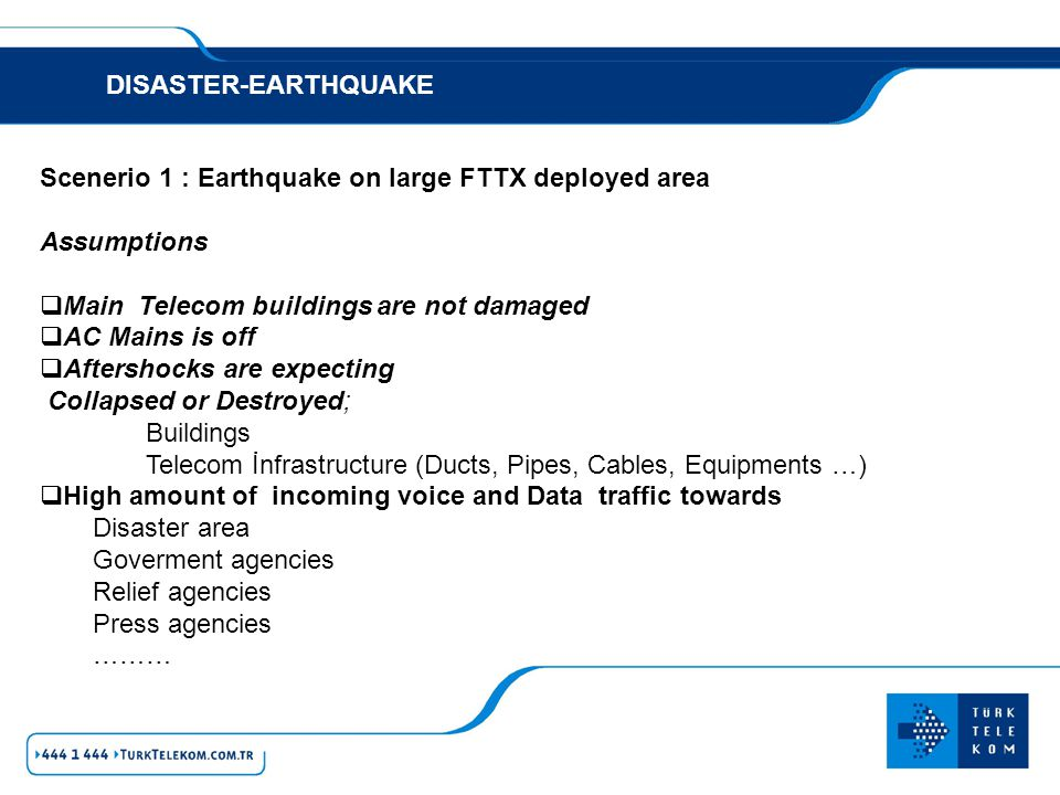 DISASTER-EARTHQUAKE RESULTS Telecom infrastructure destroyed and out of service There is no way to quickly recover infrastructure and provide service other than Mobile capabilities.