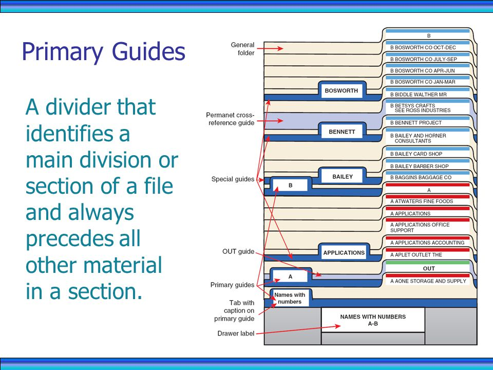 Primary Guides A divider that identifies a main division or section of a file and always precedes all other material in a section.