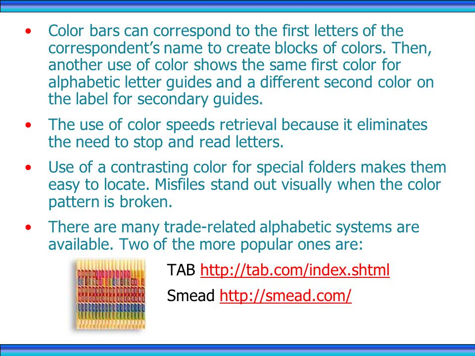 Color bars can correspond to the first letters of the correspondents name to create blocks of colors.