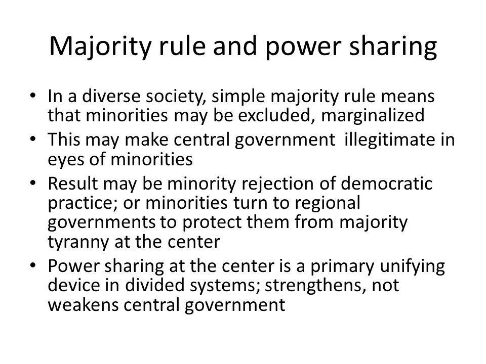 Power-sharing and institutions Institutional arrangements affect the ability of the central government to be inclusive and representative.