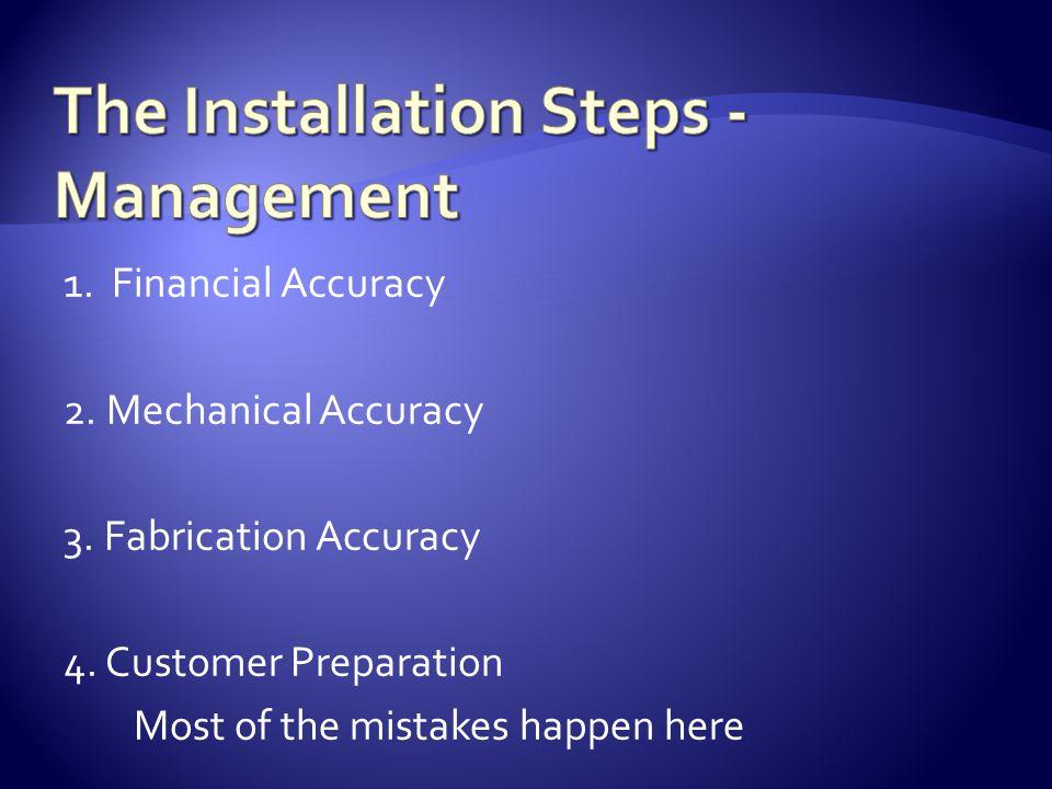 1. Financial Accuracy 2. Mechanical Accuracy 3. Fabrication Accuracy 4.