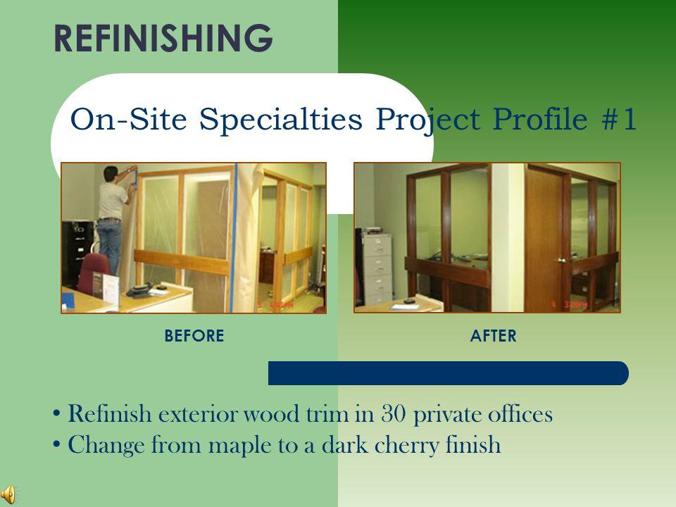 REFINISHING On-Site Specialties ELECTRO-STATIC SPRAYING WINDOW TREATMENTS