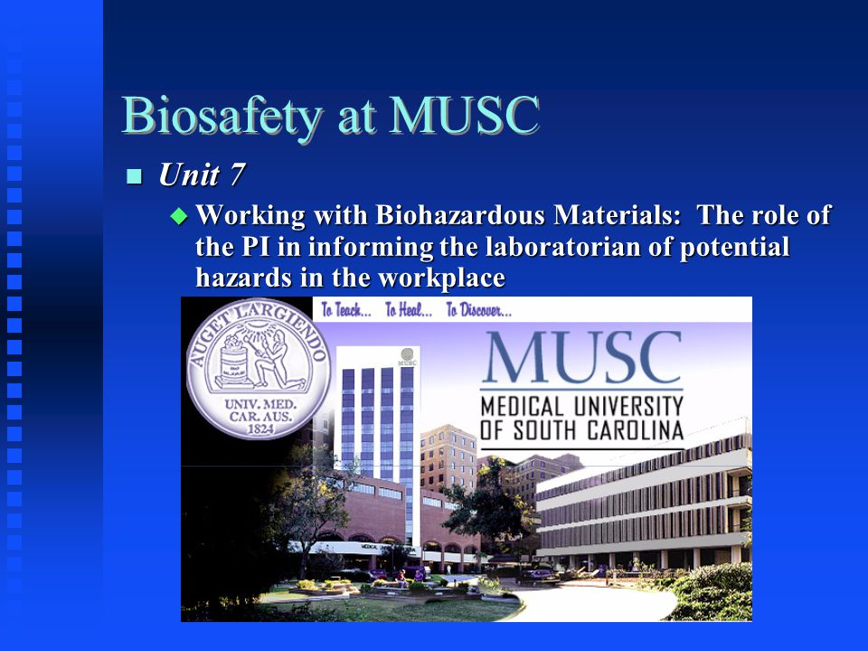 Biosafety at MUSC Unit 7 Unit 7 Working with Biohazardous Materials: The role of the PI in informing the laboratorian of potential hazards in the workplace Working with Biohazardous Materials: The role of the PI in informing the laboratorian of potential hazards in the workplace