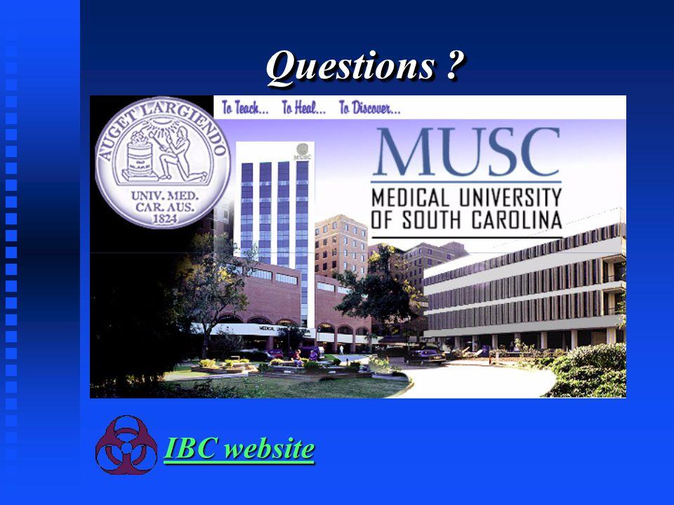 Questions ? IBC website IBC website
