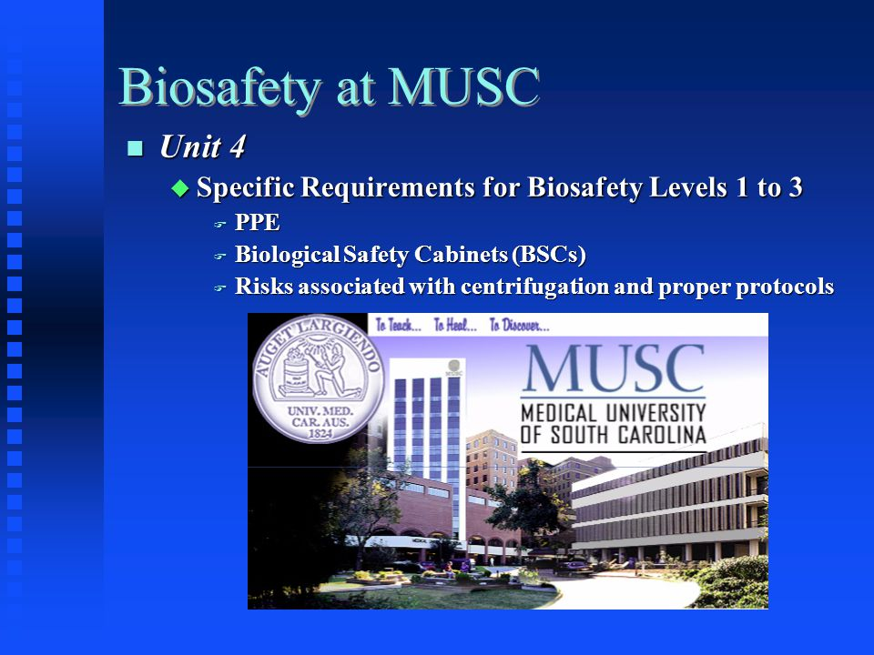 Biosafety at MUSC Unit 4 Unit 4 Specific Requirements for Biosafety Levels 1 to 3 Specific Requirements for Biosafety Levels 1 to 3 PPE PPE Biological Safety Cabinets (BSCs) Biological Safety Cabinets (BSCs) Risks associated with centrifugation and proper protocols Risks associated with centrifugation and proper protocols