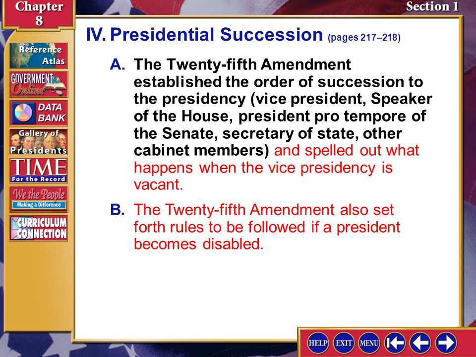 Section 1-9 A.The Twenty-fifth Amendment established the order of succession to the presidency (vice president, Speaker of the House, president pro tempore of the Senate, secretary of state, other cabinet members) and spelled out what happens when the vice presidency is vacant.