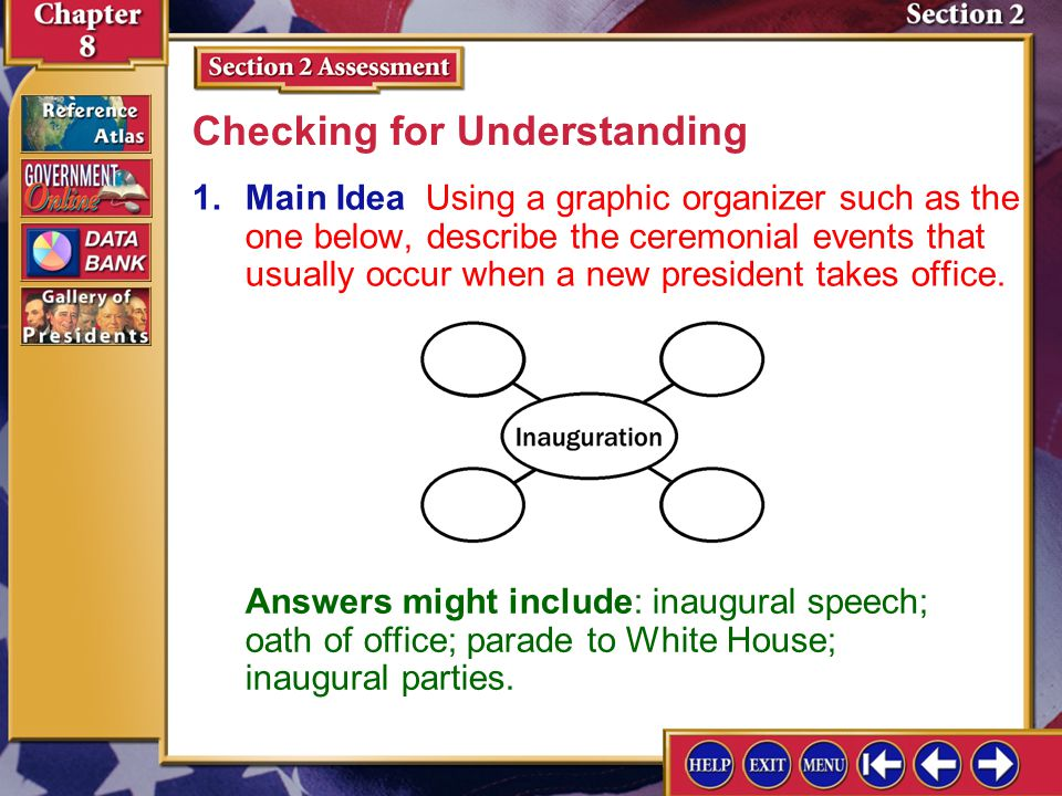 Section 2 Assessment-1 1.Main Idea Using a graphic organizer such as the one below, describe the ceremonial events that usually occur when a new president takes office.