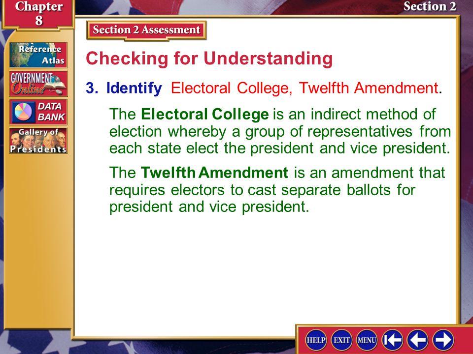 Section 2 Assessment-3 3.Identify Electoral College, Twelfth Amendment.