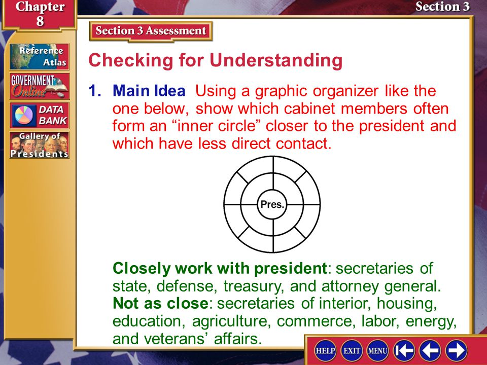 Section 3 Assessment-1 1.Main Idea Using a graphic organizer like the one below, show which cabinet members often form an inner circle closer to the president and which have less direct contact.