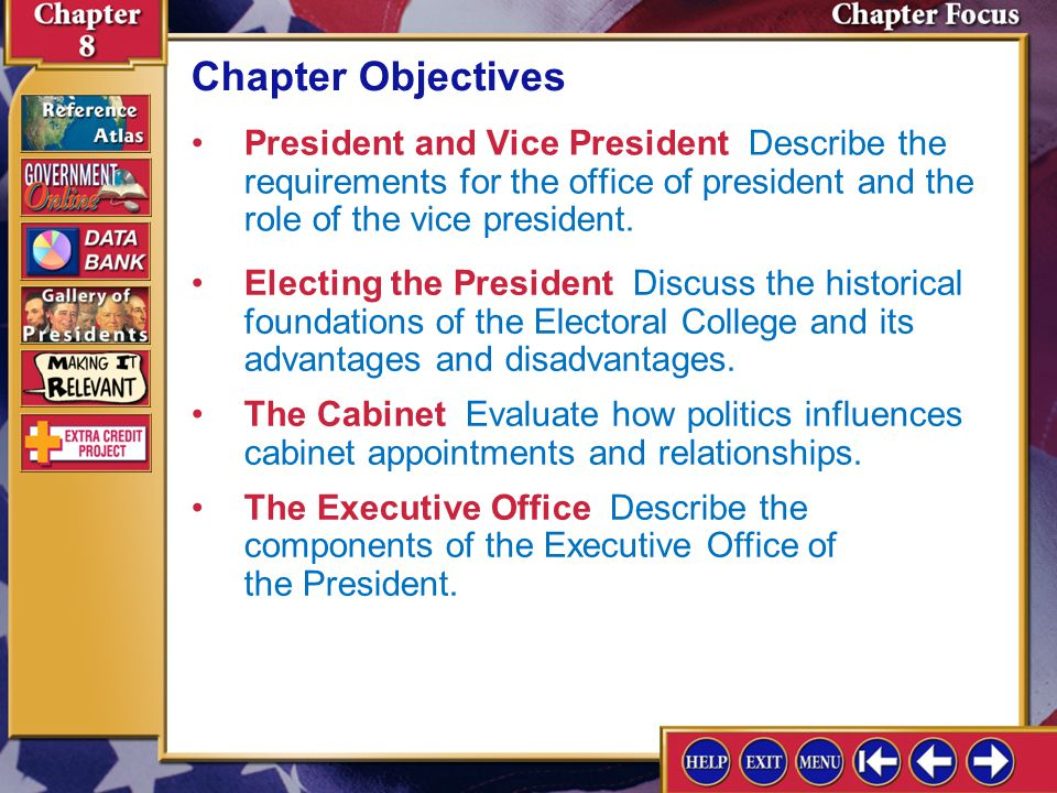 Chapter Objectives President and Vice President Describe the requirements for the office of president and the role of the vice president.