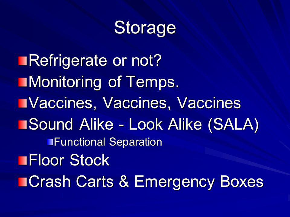 Storage Refrigerate or not.Monitoring of Temps.