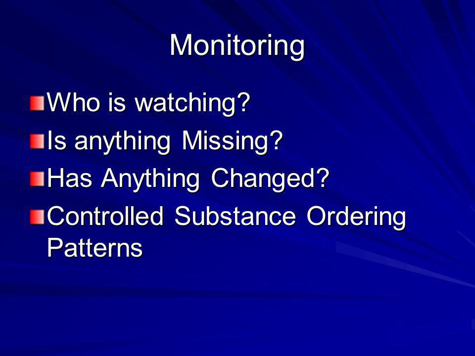 Monitoring Who is watching.Is anything Missing. Has Anything Changed.