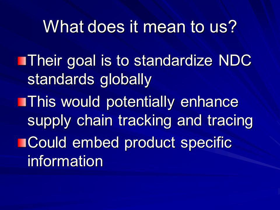 What does it mean to us? Their goal is to standardize NDC standards globally This would potentially enhance supply chain tracking and tracing Could em