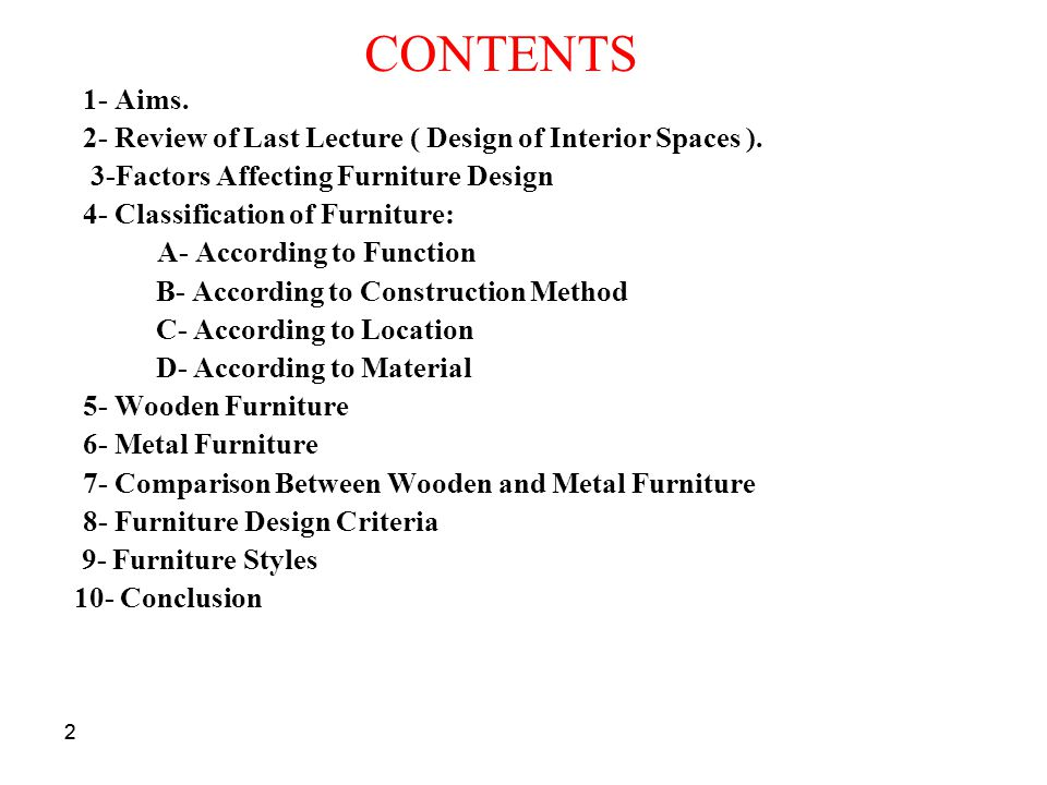 22 CONTENTS 1- Aims.2- Review of Last Lecture ( Design of Interior Spaces ).