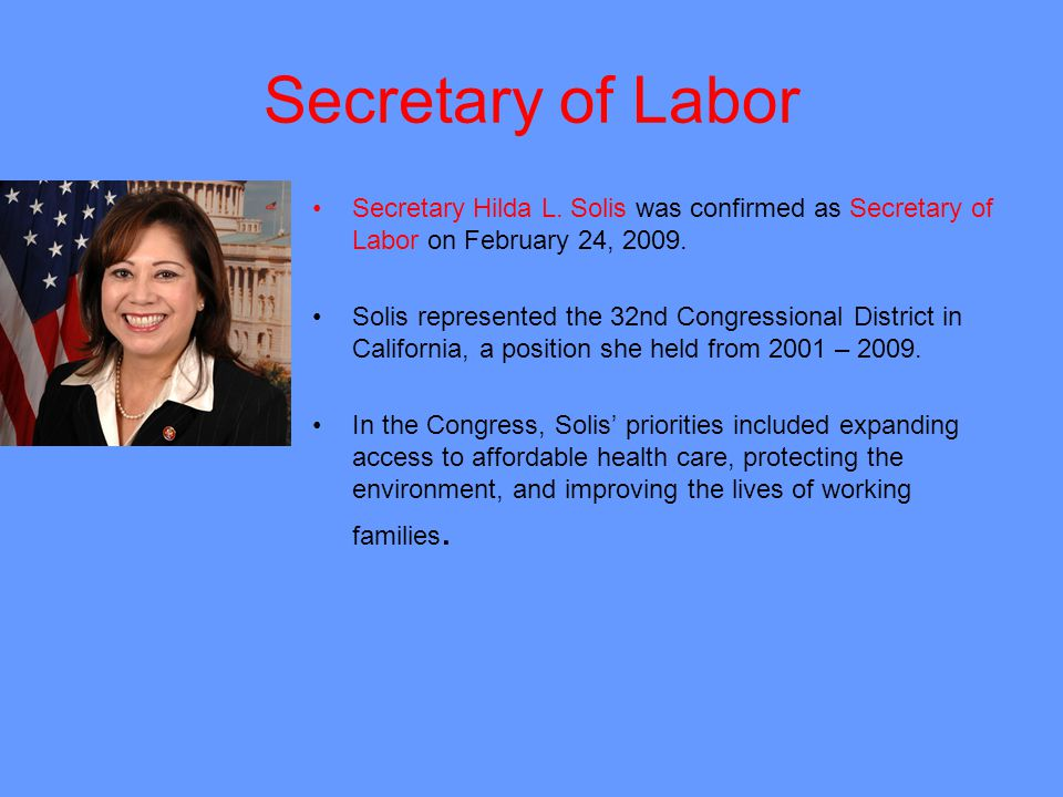 Secretary of Labor Secretary Hilda L.