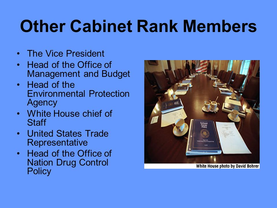 Other Cabinet Rank Members The Vice President Head of the Office of Management and Budget Head of the Environmental Protection Agency White House chief of Staff United States Trade Representative Head of the Office of Nation Drug Control Policy