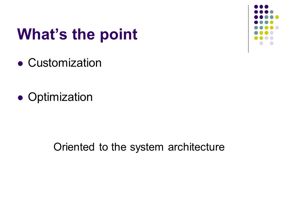Whats the point Customization Optimization Oriented to the system architecture