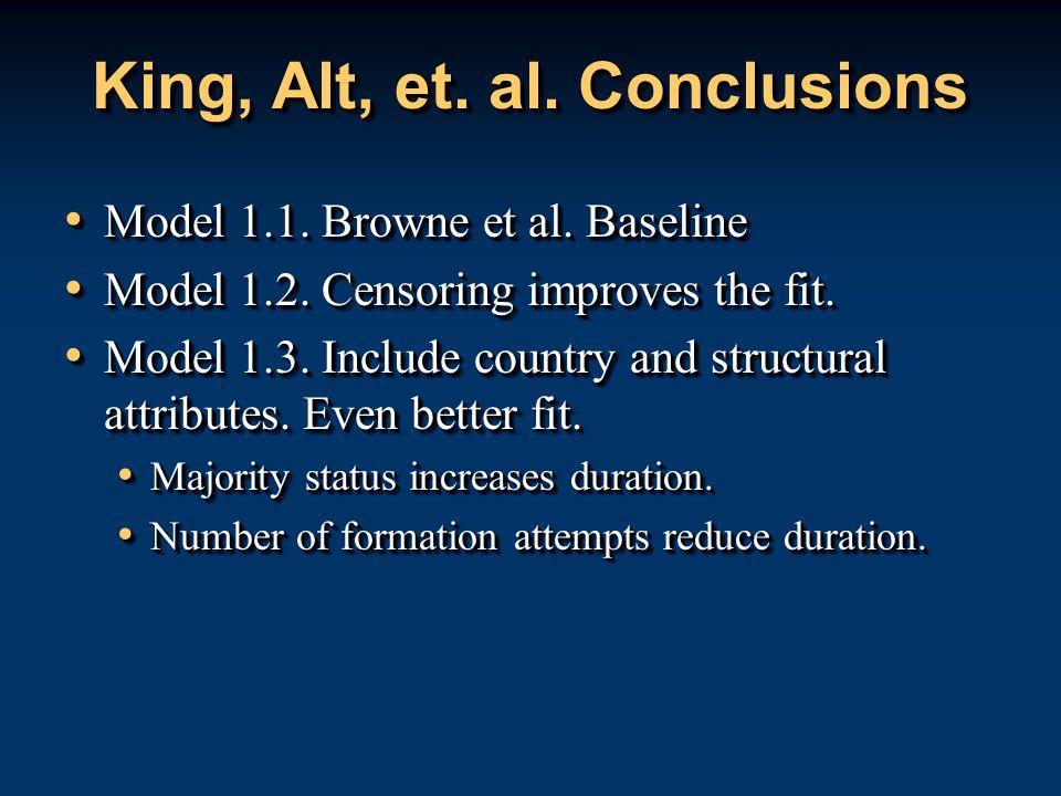 King, Alt, et. al. Conclusions Model 1.1. Browne et al. Baseline Model 1.1. Browne et al. Baseline Model 1.2. Censoring improves the fit. Model 1.2. C