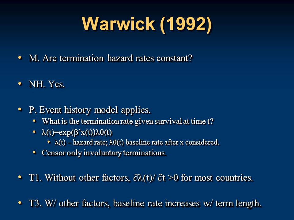 Warwick (1992) M. Are termination hazard rates constant.
