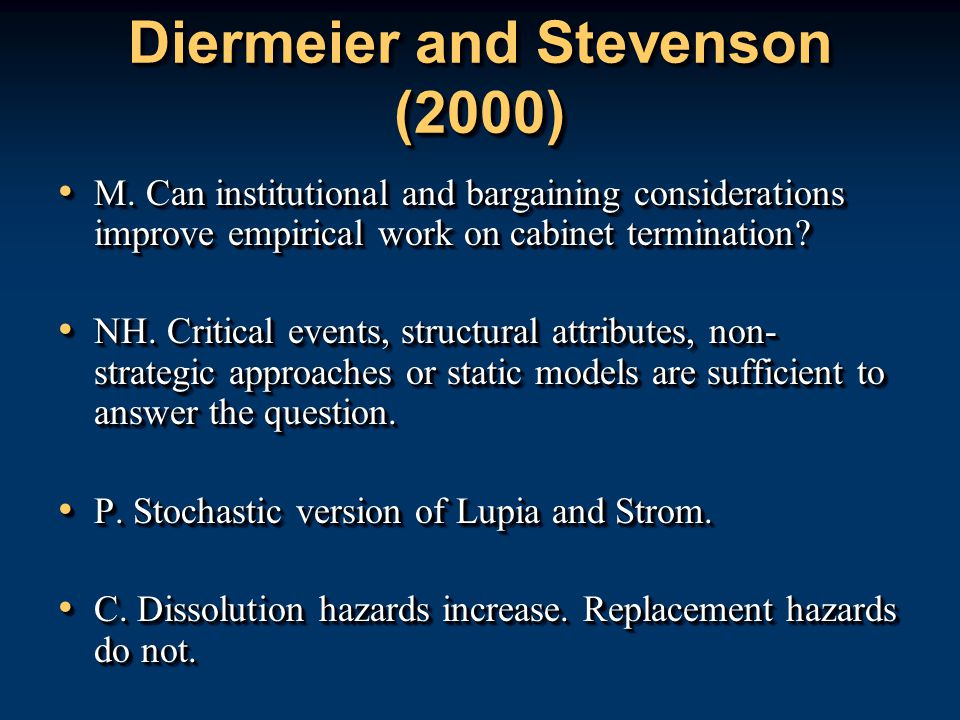 Diermeier and Stevenson (2000) M.