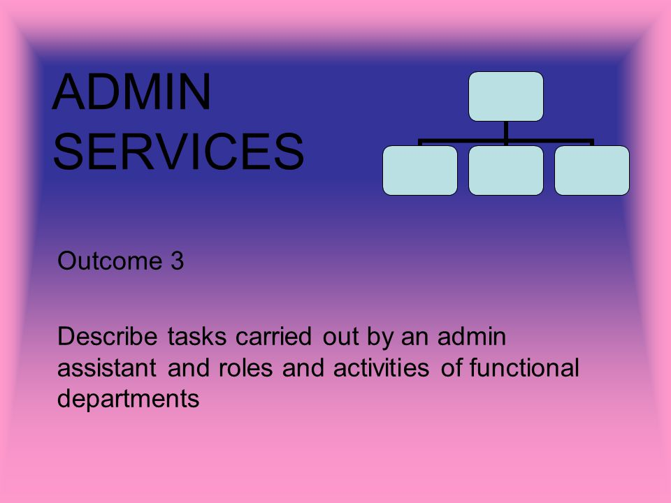 ADMIN SERVICES Outcome 3 Describe tasks carried out by an admin assistant and roles and activities of functional departments