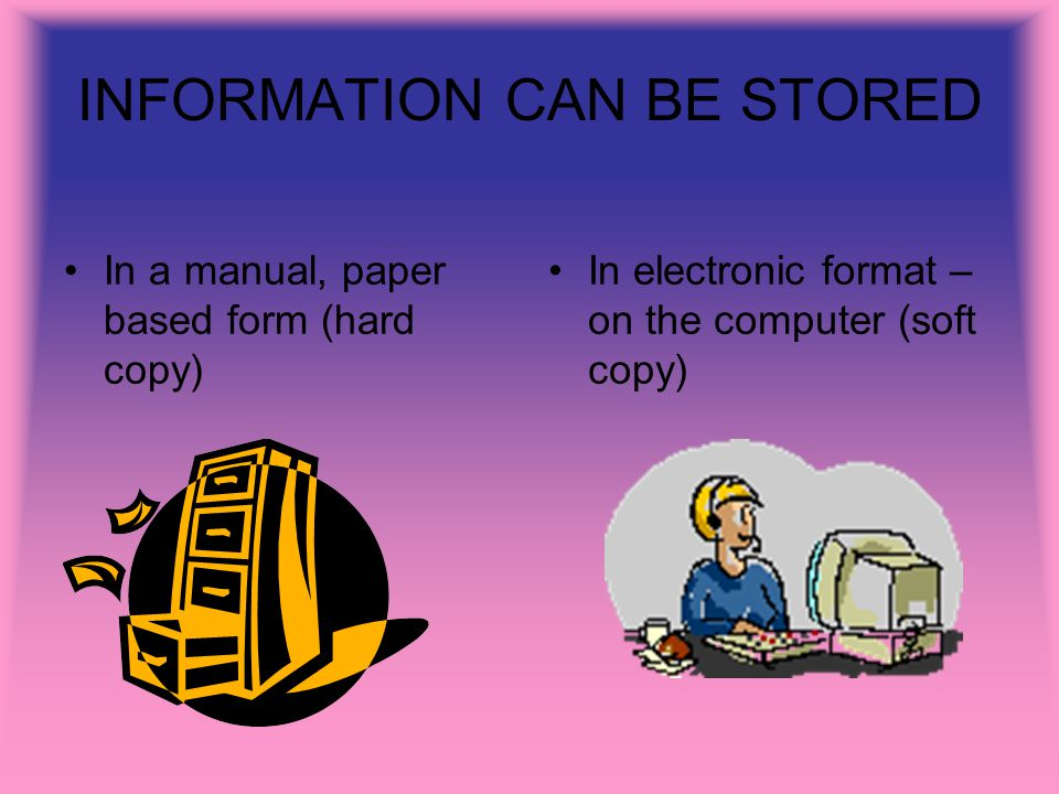 INFORMATION CAN BE STORED In a manual, paper based form (hard copy) In electronic format – on the computer (soft copy)