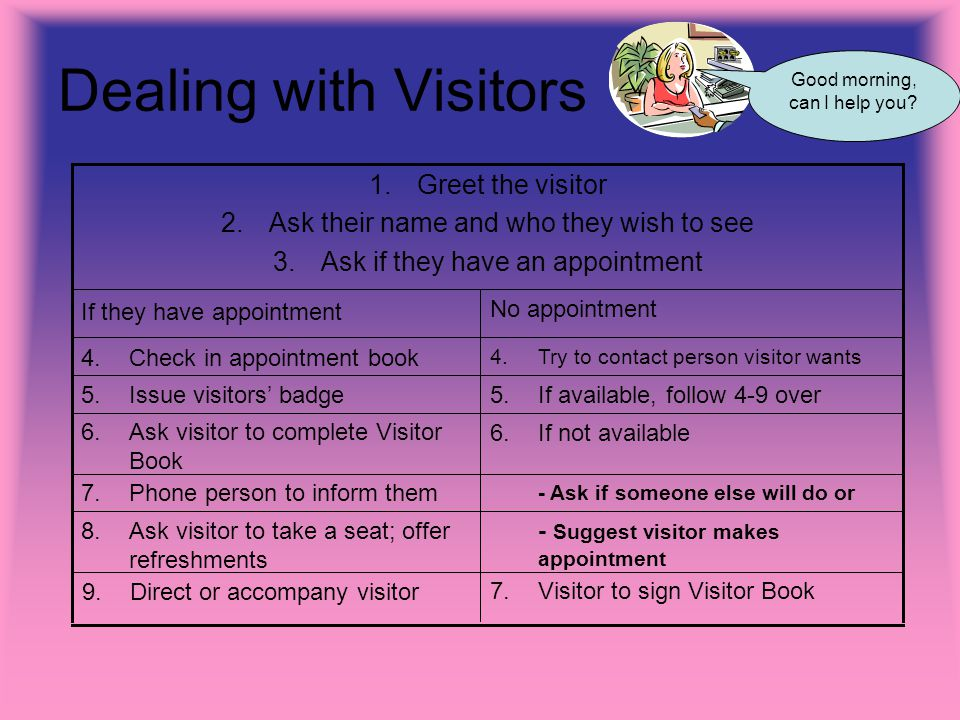 Dealing with Visitors No appointment If they have appointment 4.Try to contact person visitor wants 4.Check in appointment book 7.Visitor to sign Visitor Book 9.Direct or accompany visitor - Suggest visitor makes appointment 8.Ask visitor to take a seat; offer refreshments - Ask if someone else will do or 7.Phone person to inform them 6.If not available 6.Ask visitor to complete Visitor Book 5.If available, follow 4-9 over 5.Issue visitors badge 1.Greet the visitor 2.Ask their name and who they wish to see 3.Ask if they have an appointment Good morning, can I help you