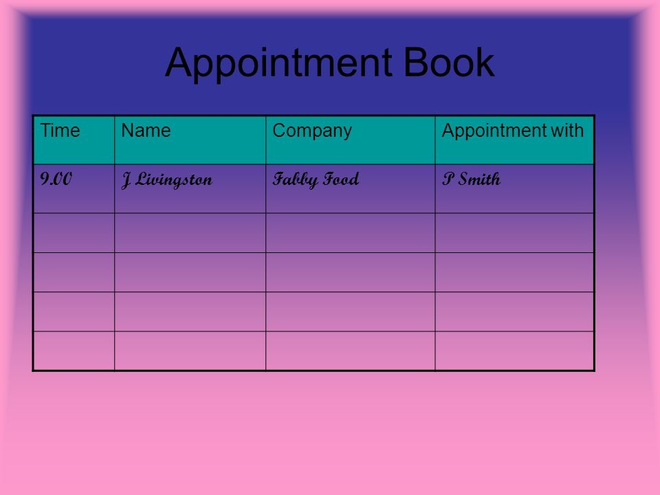Appointment Book TimeNameCompanyAppointment with 9.00J LivingstonFabby FoodP Smith