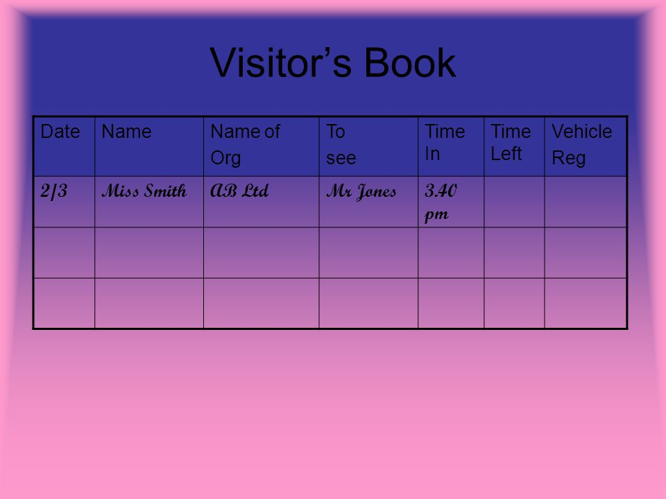 Visitors Book DateNameName of Org To see Time In Time Left Vehicle Reg 2/3Miss SmithAB LtdMr Jones3.40 pm