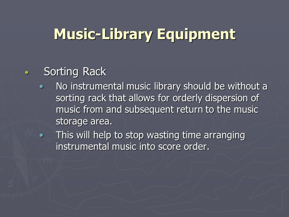 Music-Library Equipment Sorting Rack Sorting Rack No instrumental music library should be without a sorting rack that allows for orderly dispersion of music from and subsequent return to the music storage area.No instrumental music library should be without a sorting rack that allows for orderly dispersion of music from and subsequent return to the music storage area.