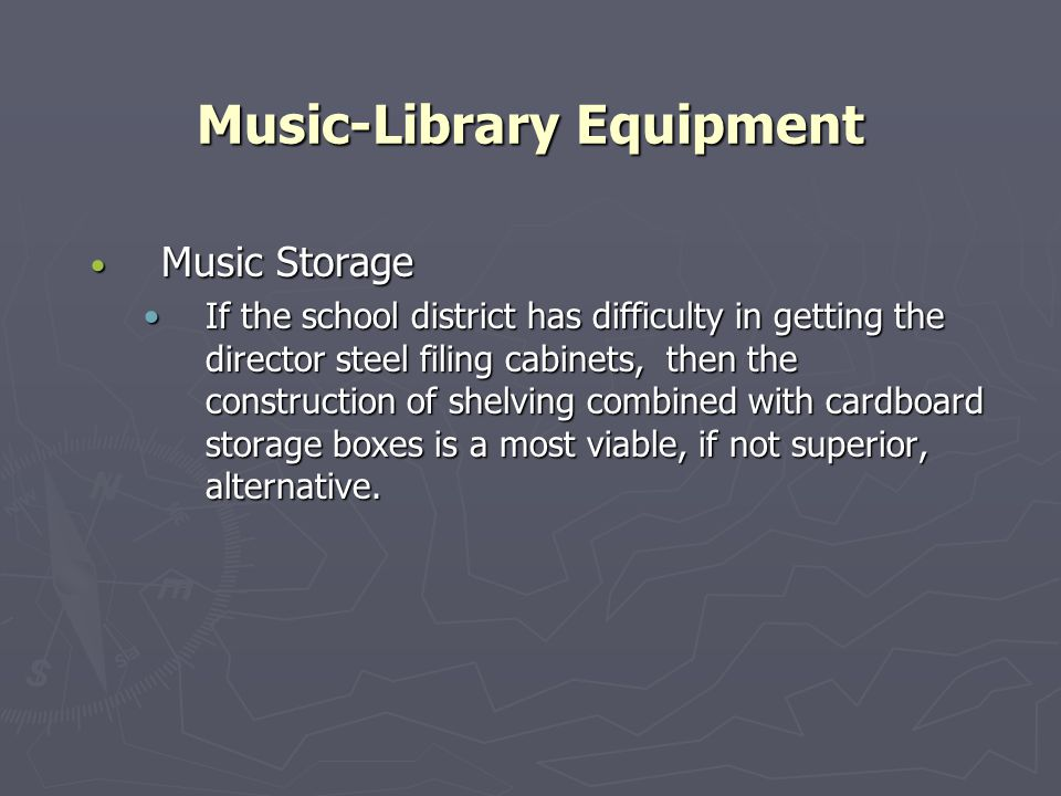 Music-Library Equipment Music Storage Music Storage If the school district has difficulty in getting the director steel filing cabinets, then the construction of shelving combined with cardboard storage boxes is a most viable, if not superior, alternative.If the school district has difficulty in getting the director steel filing cabinets, then the construction of shelving combined with cardboard storage boxes is a most viable, if not superior, alternative.