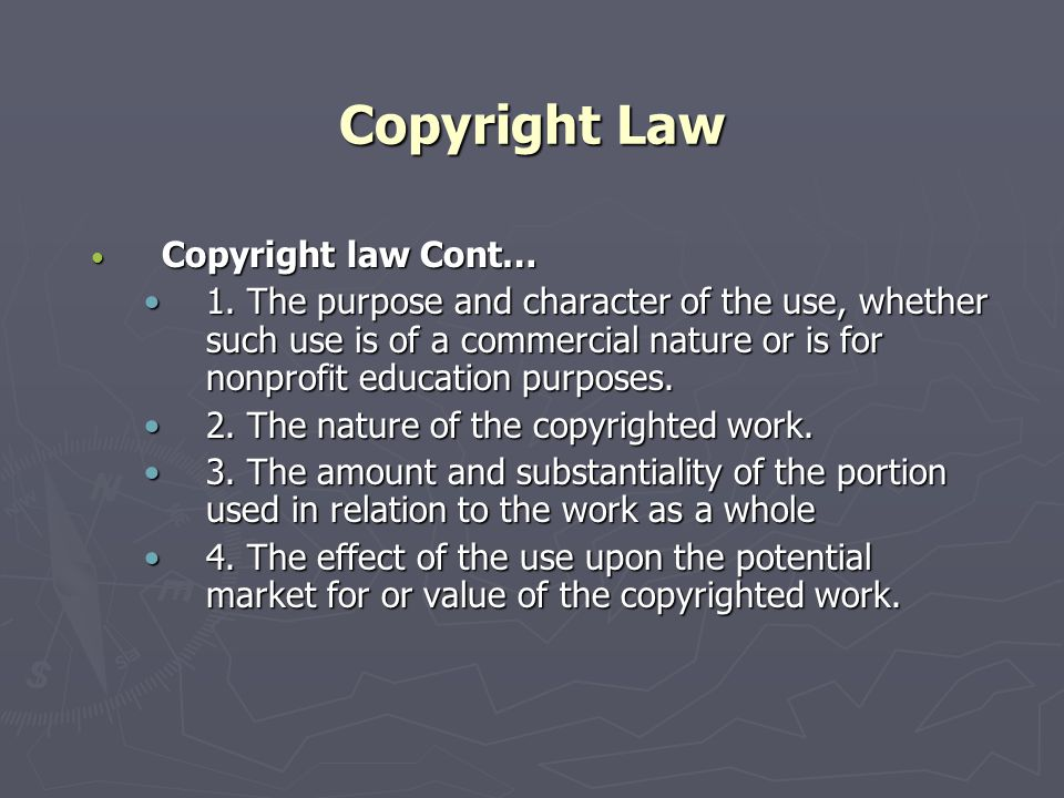 Copyright Law Copyright law Cont… Copyright law Cont… 1.