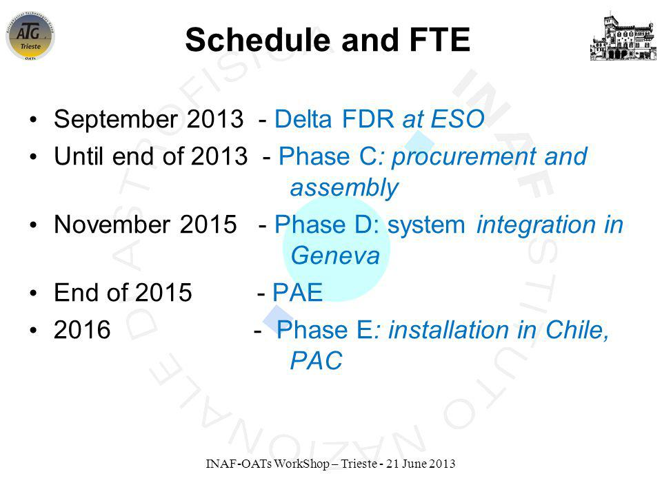 INAF-OATs WorkShop – Trieste - 21 June 2013 Schedule and FTE September 2013 - Delta FDR at ESO Until end of 2013 - Phase C: procurement and assembly November 2015 - Phase D: system integration in Geneva End of 2015 - PAE 2016 - Phase E: installation in Chile, PAC