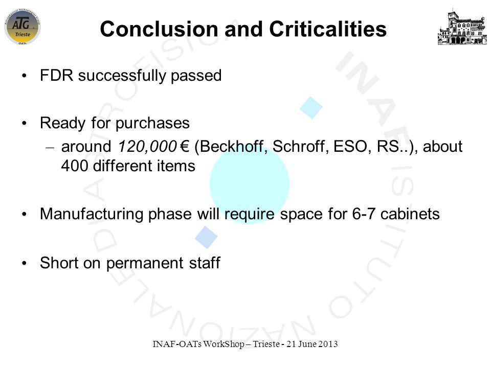 INAF-OATs WorkShop – Trieste - 21 June 2013 Conclusion and Criticalities FDR successfully passed Ready for purchases – around 120,000 (Beckhoff, Schroff, ESO, RS..), about 400 different items Manufacturing phase will require space for 6-7 cabinets Short on permanent staff
