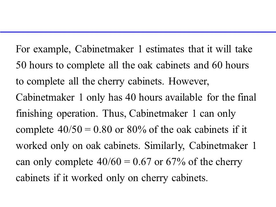For example, Cabinetmaker 1 estimates that it will take 50 hours to complete all the oak cabinets and 60 hours to complete all the cherry cabinets. Ho