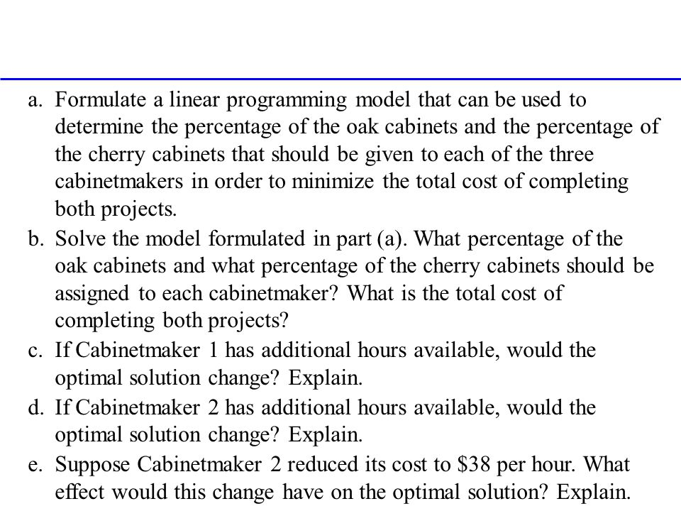 a.Formulate a linear programming model that can be used to determine the percentage of the oak cabinets and the percentage of the cherry cabinets that