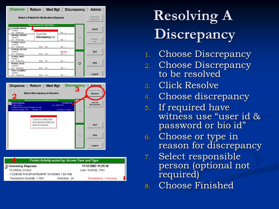 Resolving A Discrepancy 1. Choose Discrepancy 2. Choose Discrepancy to be resolved 3. Click Resolve 4. Choose discrepancy 5. If required have witness