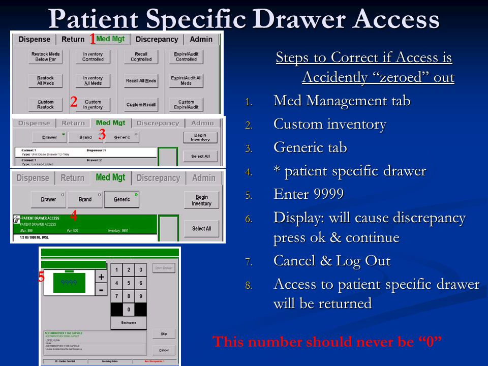 Patient Specific Drawer Access Steps to Correct if Access is Accidently zeroed out 1. Med Management tab 2. Custom inventory 3. Generic tab 4. * patie