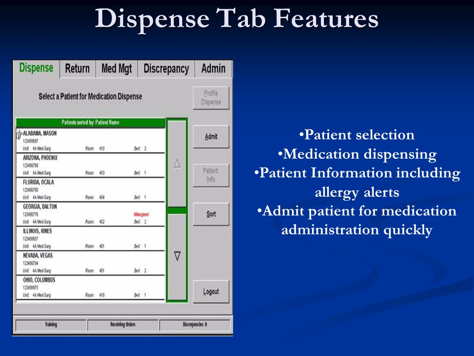 Order Detail Review Screen Allows you to review order specifics prior to removing from cabinet Order # Name of Medication Amount ordered Medication ordered by