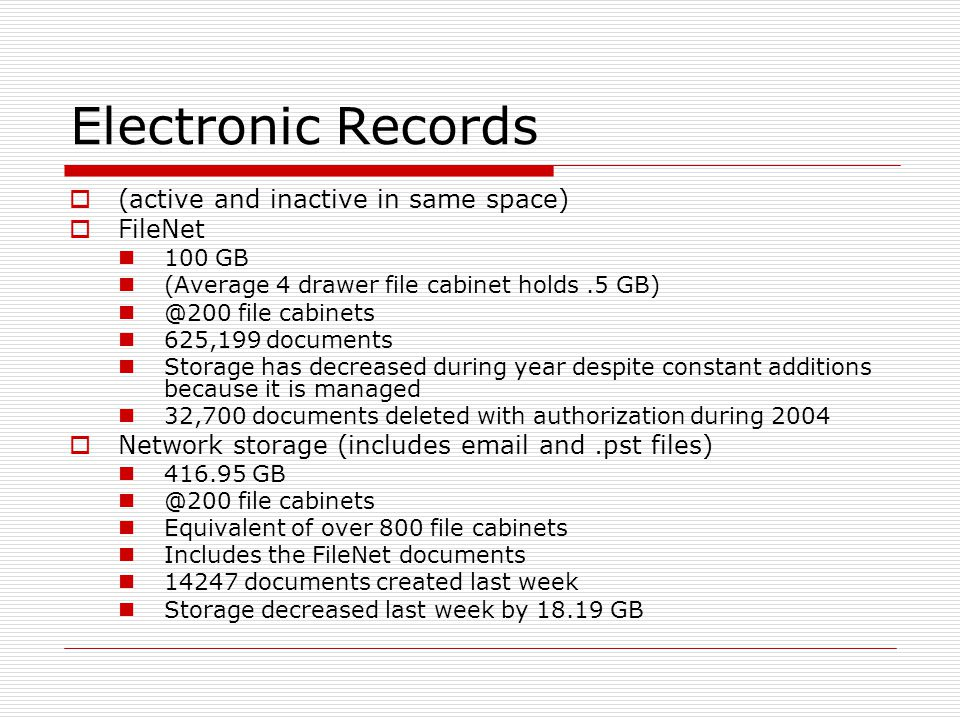 Electronic Records (active and inactive in same space) FileNet 100 GB (Average 4 drawer file cabinet holds.5 GB) @200 file cabinets 625,199 documents