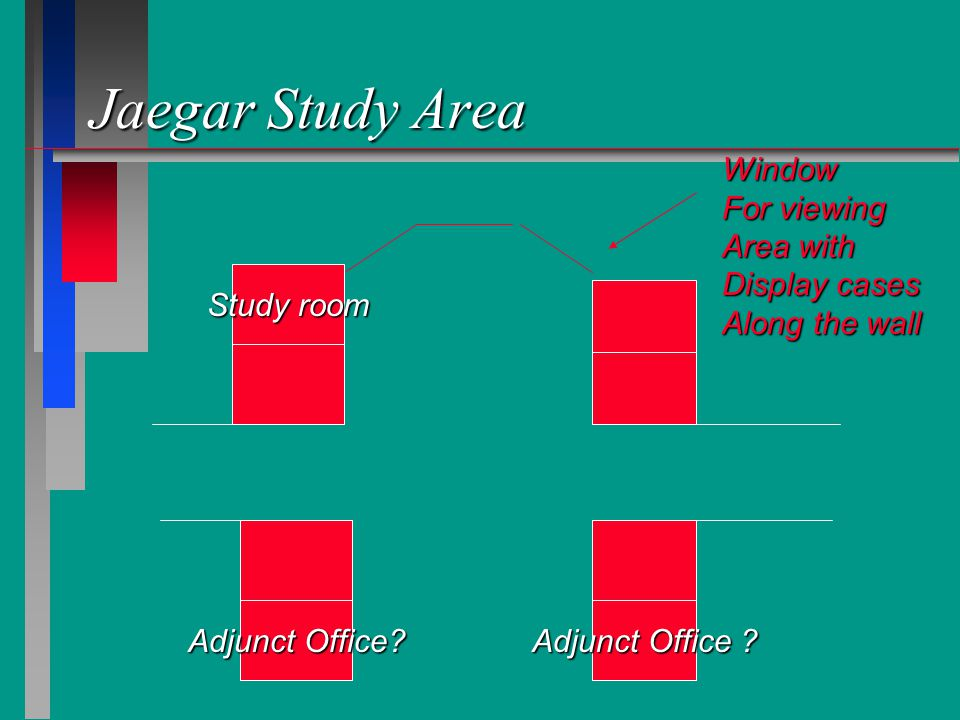 Jaegar Study Area Window For viewing Area with Display cases Along the wall Study room Adjunct Office?