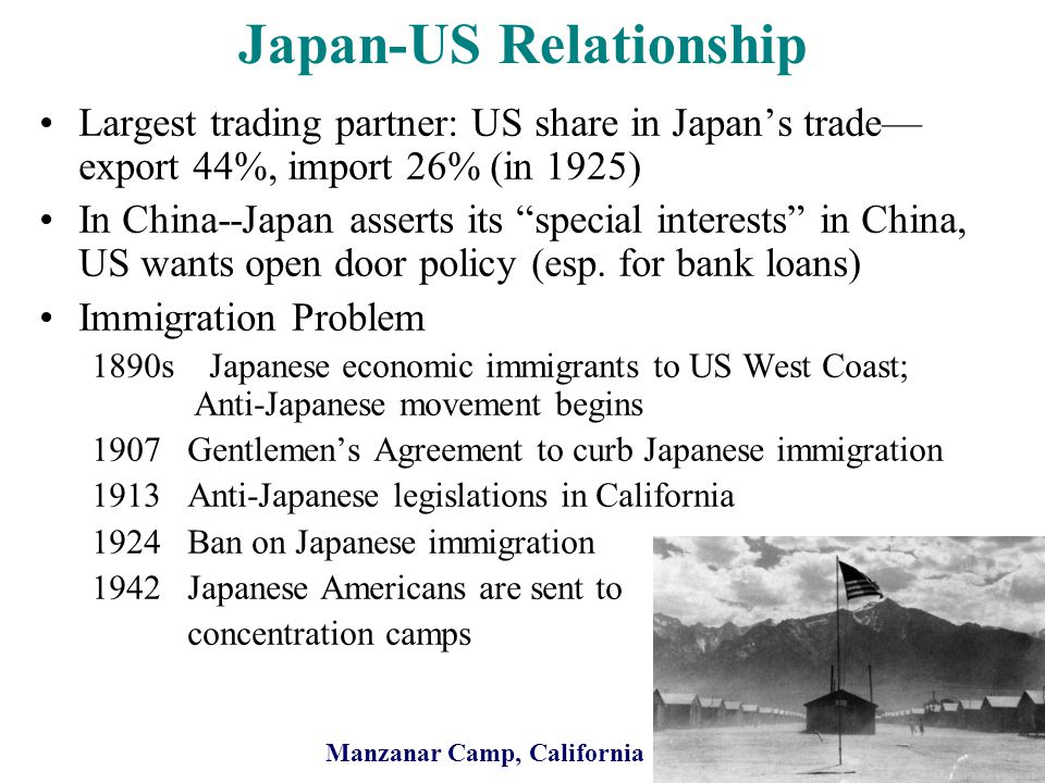 Japan-US Relationship Largest trading partner: US share in Japans trade export 44%, import 26% (in 1925) In China--Japan asserts its special interests in China, US wants open door policy (esp.