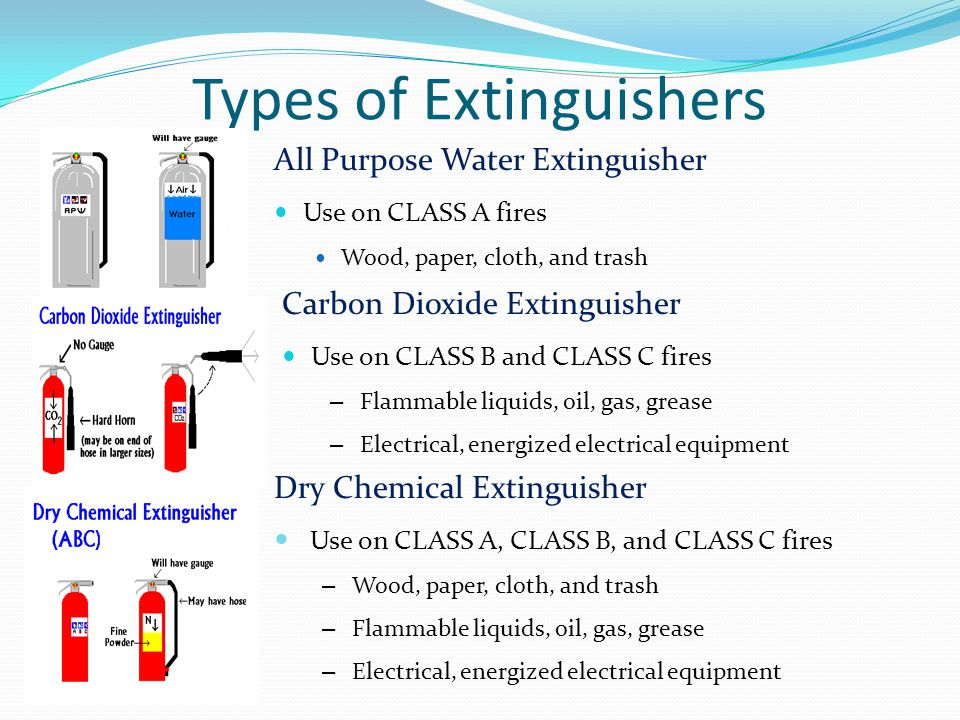 Types of Extinguishers All Purpose Water Extinguisher Use on CLASS A fires Wood, paper, cloth, and trash Carbon Dioxide Extinguisher Use on CLASS B and CLASS C fires – Flammable liquids, oil, gas, grease – Electrical, energized electrical equipment Dry Chemical Extinguisher Use on CLASS A, CLASS B, and CLASS C fires – Wood, paper, cloth, and trash – Flammable liquids, oil, gas, grease – Electrical, energized electrical equipment