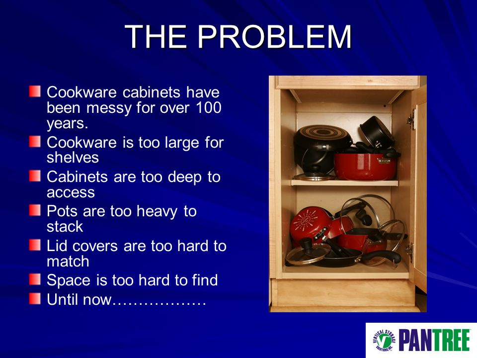 THE PROBLEM Cookware cabinets have been messy for over 100 years.