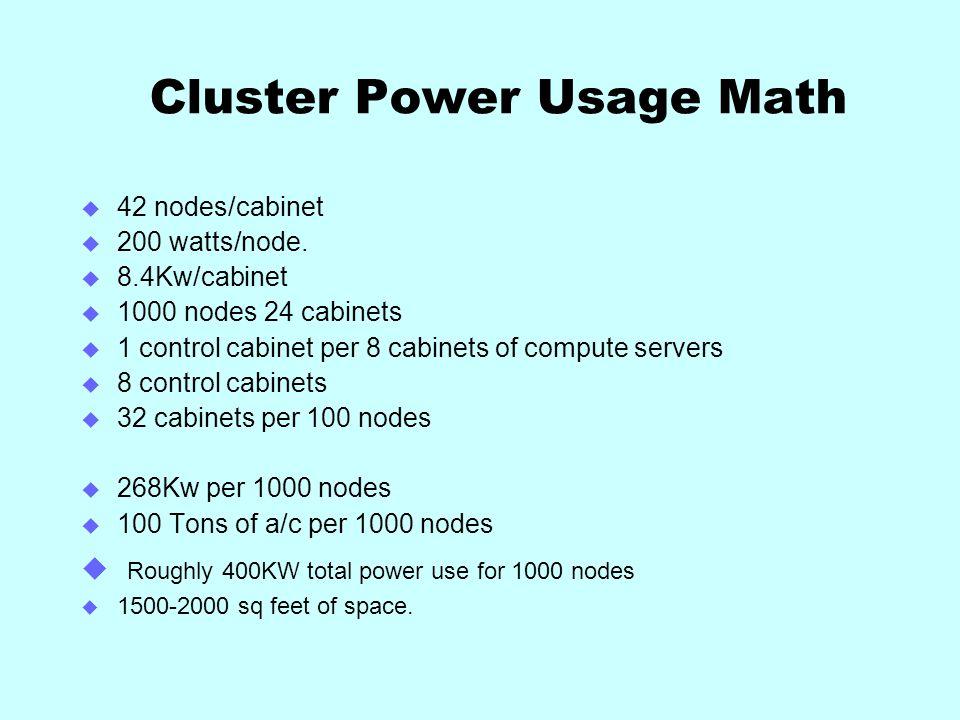 Cluster Power Usage Math 42 nodes/cabinet 200 watts/node.