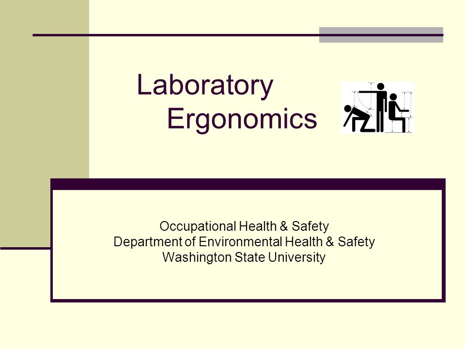 Laboratory Ergonomics Occupational Health & Safety Department of Environmental Health & Safety Washington State University
